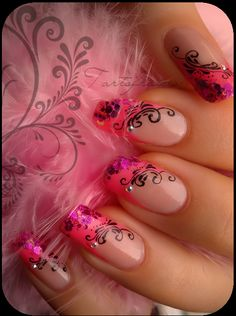 Black 'n' pink french tips