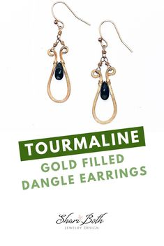 A Gorgeous pair of dark green tourmaline drop earrings with gold fill elements made especially for your next special occasion. These tourmaline dangle earrings will sure make it extra special with its beautiful elongated design and dark green hues. This pair of tourmaline earrings is simply beautiful! Gold and Gemstone Earrings, Tourmaline Jewelry Earrings, Spring Fashion #goldearrings #greentourmaline #handmadejewelry #danlgeearrings