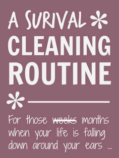 A survival #cleaning and #housework #routine for those weeks or months when your life is falling down around your ears
