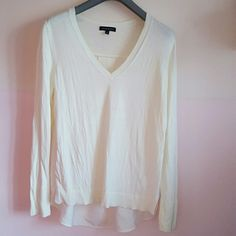 Banana Republic Light Sweater Cream color sweater/blouse. This is a very pretty and loose for two fabric top. Front looks like sweater and the back looks like a blouse. Banana Republic Tops Blouses