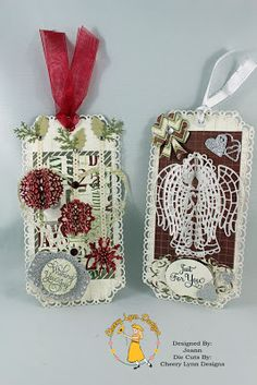 Today I wanted to share with you a couple of tags that I have made.  I used the DL193 - Horizon Coved Rectangle die to make the base of the tags instead of using a pre-made tag.  This gave me the flexibility to make the size I wanted. #cheeryld #beadz Dies used: Holly Leaves - B183; Sentiment Frame #2 - B190; Expandable Tiny Borders - B215; Wreath Strip - B216; Love You More - B238; Rose Leaf Strip - B241; Horizon Coved Rectangle - DL193; (Continued).. http://www.cheerylynndesigns.com