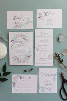 Semi-custom watercolor wedding invitation suite Watercolor Wedding Invitations, Wedding Invitation Suite, Summer Flowers, Place Card Holders, Wedding Announcements