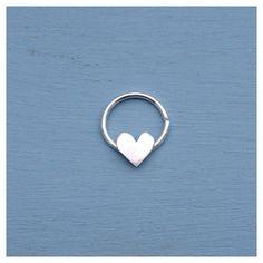 Love Heart Septum Jewelry Ring Sterling Silver by AliceRubyStudio