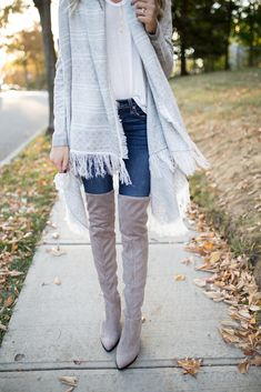 Grey Over the Knee Boots, Aztec Print Cardigan