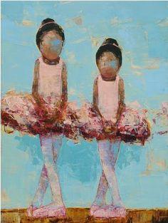 Rebecca Kinkead Dancers no. 2  oil, wax, marble dust on canvas  45 x 40