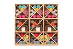 Yarn Storage - I used an inexpensive ClosetMaid 9 cube organizer to store all of…