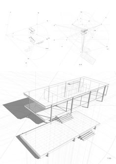 Farnsworth House, built by Ludwig Mies van der Rohe in 1951 and located near Plano, Illinois. studio sulla prospettiva_f. Architecture Drawings, Residential Architecture, Contemporary Architecture, Architecture Details, Farnsworth House Plan, Casa Farnsworth, Ludwig Mies Van Der Rohe, House Sketch, House Drawing