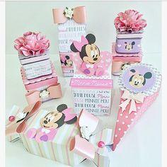 kit scrap festa baby minnie com papéis licenciados Disney