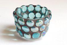 Aquamarine gems  Mosaic candle holder by Trencadis on Etsy, $18.00