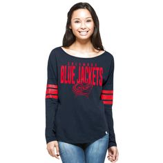 Columbus Blue Jackets '47 Women's Courtside Long Sleeve T-Shirt - Navy - $35.99
