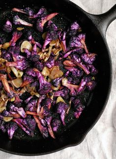 purple cauliflower with garlic & saffron (use coconut oil and omit the quinoa to make it Paleo and low carb)