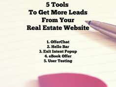 5 Tools To Increase Leads From Your Real Estate Website #realestate #realtor https://www.flyerco.com