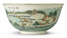 A FAMILLE-ROSE 'LANDSCAPE' BOWL, QING DYNASTY, 19TH CENTURY