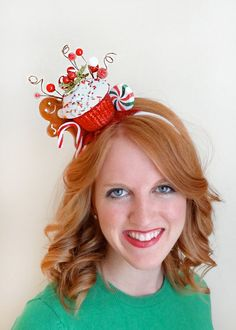 **PRE-ORDER item, will ship November 15-20th ** (contact me if any questions!)  Add this whacky-tacky headband to your ensemble, and youre an instant holiday cutie with glitter on top!  The headpiece features a glittery/ sprinkled cupcake, a candy cane to the side, and a gingerbread man peeking from behind... with peppermint candies across the back. About me: I have been designing fabulous headwear since 2008 – check out my other shop, and see the 2000+ positive reviews and 5-star feedback…