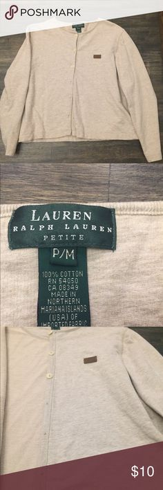 Ralph Lauren Sweater 100% Cotton Button Up sweater. Has a good weight to it. Petite Medium. Has top 3 buttons. Nice leather stamped Logo stitched to left chest. Lauren Ralph Lauren Sweaters Cardigans