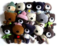 Teddy bear plushies with plenty of personality. So cute!