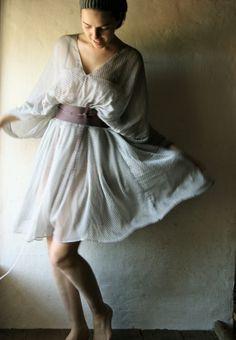 Ice Grey Chiffon Kaftan dress by larimeloom on Etsy
