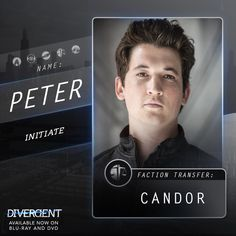 """""""I understand why you're worried, Peter. The events of last night certainly proved that you are a miserable coward.So now we all know, that you are afraid of a short, skinny girl from Abnegation."""" - Four in Divergent Peter Divergent, Divergent Trilogy, Divergent Insurgent Allegiant, Divergent Fandom, Veronica Roth, Theo James, Miles Teller, Movie Sites, Adventure Film"""