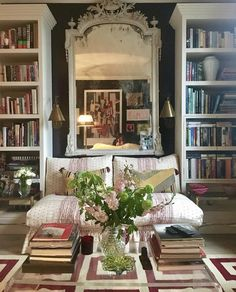Beautiful living room fabrics and bookcases via Sarah Vanrenen Designs
