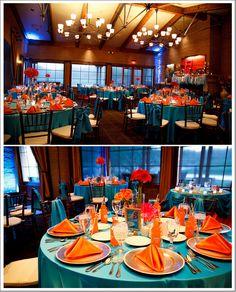 Arizona Wedding at The Raven at Verrado Alyssa & Derek Wedding Colors Teal Orange Weddings, Aqua Wedding, Fall Wedding Colors, Autumn Wedding, Wedding Bridesmaids, Wedding Table, Dream Wedding, Wedding Day, Mint Weddings