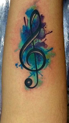 Plan: trebel clef(represents me) water color: yellow, light blue, teal, orange(cancer colors for family members)