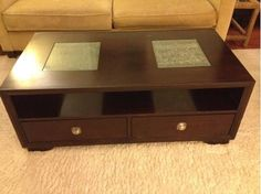 Dark chocolate brown coffee table with storage