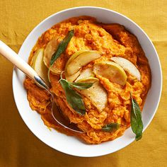 Sharp white cheddar proves the perfect complement to sweet potatoes in this easy make-ahead recipe. Sauteed apple slices supplement the mashed potatoes with cozy fall flavor! http://www.bhg.com/recipes/potato/potato-side-dish-recipes/?socsrc=bhgpin122014whitecheddarmashedsweetpotatoes&page=15