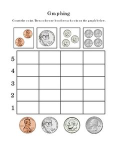 Kindergarten+Math+Graphing+Pennies+Nickels+Dimes+Quarters+Numbers+Up+to+4+Coloring.+Tools+for+Common+Core.+Life+Skills.+Critical+Thinking.+Fine+Motor+Skills.+1+page.+