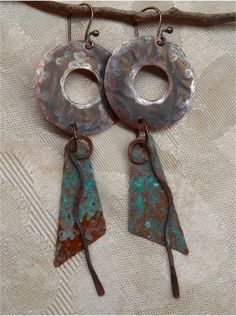 Hammered Rustic Copper Earrings by SunStones on Etsy, $16.00
