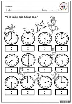 ATIVIDADES COM HORAS E MINUTOS 3rd Grade Math Worksheets, Kindergarten Worksheets, Math Activities, School Programs, Math For Kids, Math Classroom, Kids Education, Teaching Math, Sos Professor