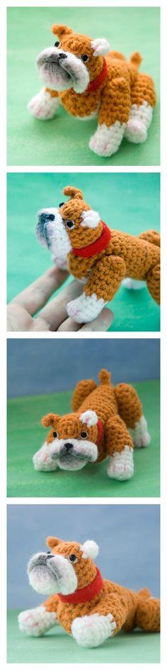 Crochet pattern to make an adorable and realistic amigurumi bulldog! Pattern by #tinyAlchemy