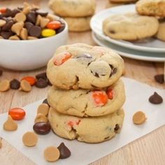 Peanut Butter Pudding Cookies... bursting with milk chocolate chips, peanut butter chips, and Reese's Pieces.