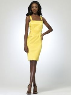 Yellow Cotton sateen dress with lace up side detail [#P5365A70253062] - $158.00 : Crazeparty.com, Dare to be Different!