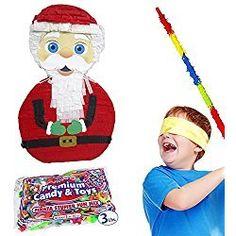 Christmas Santa Claus Pinata Kit Includes Pinata, 3Lb Filler, Buster Stick and Bandana
