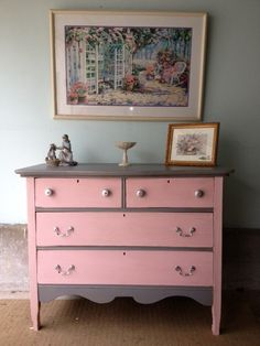 chalk+painted+dressers | Antique Chalk Painted Child's Dresser on Etsy, $200.00..love the pink ...