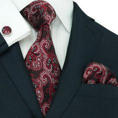 Black and Red Paisley Silk Necktie Set JPM32E – Toramon Necktie Company