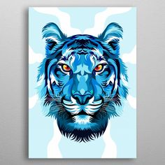 Tiger Blue poster by from collection. By buying 1 Displate, you plant 1 tree. Colorful Animal Paintings, Colorful Animals, Chalk Pastel Art, Chalk Pastels, Tiger Painting, Blue Poster, Art Watercolor, Animal Posters, Color Pencil Art