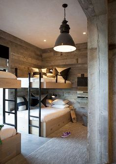 Loft bed in the nursery 100 cool bunk beds for kids Jugendzimmer für Teenager Bunk Beds Built In, Modern Bunk Beds, Cool Bunk Beds, Kids Bunk Beds, Loft Beds, Queen Bunk Beds, Chalet Design, House Design, Chalet Style