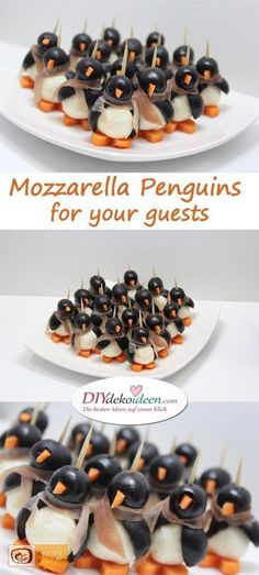 These mozzarella penguins are sure to get your guests talking, even the kids will enjoy them.  #partysnacks #tastyappetizers
