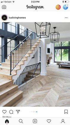 stairs, wood white and black, hanging lantern pendants - treppe. Home Interior Design, Interior And Exterior, White House Interior, Interior Trim, Planchers En Chevrons, House Goals, Stairways, Home Fashion, My Dream Home