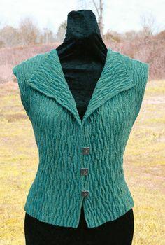 Woven wool vest by Dianne Totten using Crimp cloth©, warp shibori. Diane is a regular Weaving instructor at the John C. Campbell Folk School | folkschool.org