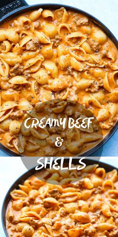 Creamy Beef and Shells (sub shells put for broccoli) - A quick/easy ground beef recipe, this is a pasta dish that will be on your dinner table all week long! So creamy and so comforting! #beef #shells #dinner