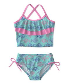 Look at this #zulilyfind! Turquoise & Pink Fish Ruffle UPF-50 Tankini - Toddler & Girls #zulilyfinds