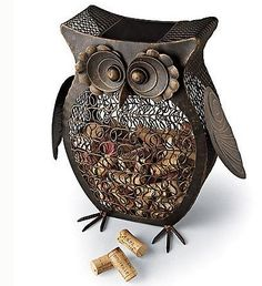 Owl Wine Cork Catcher... I'd drink wine just so I could have this!!