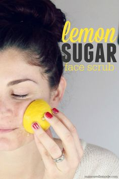 super easy homemade lemon sugar face scrub that you can do in less than 5 minutes with ingredients you already have! You've got to try this!