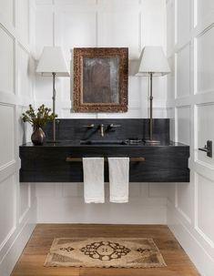 Powder Room Design, Traditional Interior, Traditional Design, Modern Traditional Decor, Modern Contemporary, Bathroom Interior Design, Eclectic Bathroom, Bathroom Vintage, White Bathroom