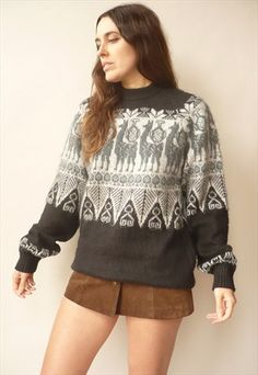 90'S VINTAGE ALPACA WOOL WOOL NOVELTY LLAMA PATTERN JUMPER How To Look Better, That Look, Alpaca Wool, Jumpers For Women, Cardigans, Casual Outfits, Nice, Clothing, Pattern