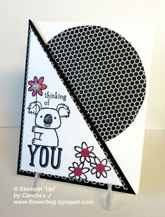 Kind Koala Card from Flowerbug's Inkspot Line Art Images, Handmade Card Making, Paper Crafts, Diy Crafts, Beautiful Handmade Cards, Stampin Up Cards, Scrapbook Pages, I Card, Cardmaking