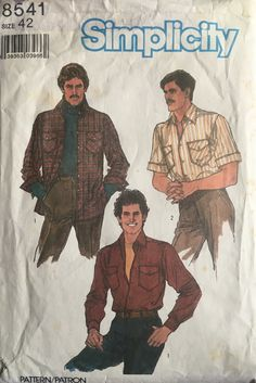 Mens Sewing Patterns, Simplicity Sewing Patterns, Vintage Patterns, Pattern Sewing, Pattern Books, Mens Shirt Pattern, Shirt Patterns, Jacket Pattern, Dress Patterns