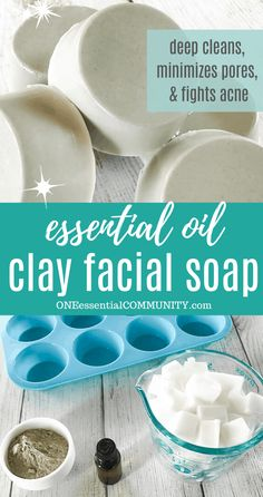 DIY clay facial soap with essential oils deep cleans pores, soothes redness, balances oil production Essential Oils Soap, Tea Tree Essential Oil, Acne Soap, Homemade Beauty, Diy Beauty, Beauty Skin, Diy Body Scrub, Moisturizer For Oily Skin, Vitamins For Skin